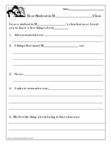 End of the Year Letter Worksheet