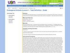 Endangered Animals (Lesson 1 - Task Definition - Grade 3) Lesson Plan