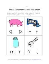 Ending Consonant Sounds Worksheet Worksheet