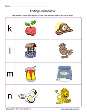 Ending Consonants 2 Worksheet