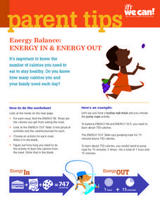 Energy Balance: Energy in And Energy Out Worksheet