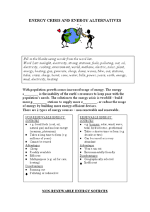 Energy Crisis and Energy Alternatives Lesson Plan