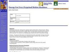 Energy for Free: Perpetual Motion Machines Lesson Plan