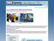 Energy Forms, States and Conversions Lesson Plan