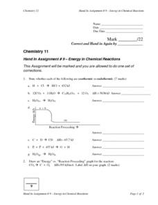 Energy in Chemical Reactions Lesson Plan