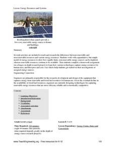 Energy Resources and Systems Lesson Plan