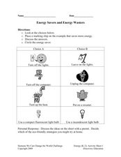 Energy Savers and Energy Wasters Worksheet