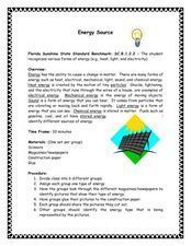 Energy Source Lesson Plan