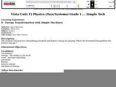 Energy Transformation with Simple Machines Lesson Plan