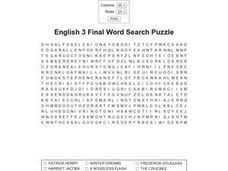 English 3 Final Word Search Worksheet