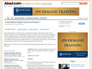 English Intermediate Grammar Review # 1 Lesson Plan