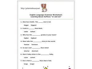 "English Language Grammar Worksheet:  Learning About Suffices ""er and est"" Worksheet"