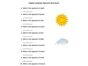 English Language Opposite Worksheet Worksheet