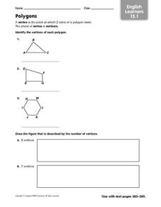 English Learners: Polygons Worksheet