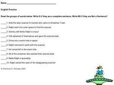 English: Sentence or Not a Sentence Worksheet