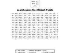 English Words Word Search Puzzle- Upper Level Worksheet