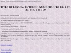 Entering Numbers 1 to 10, 1 to 20, 1 to 100 Lesson Plan