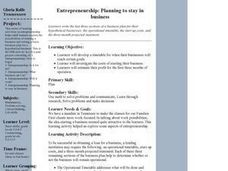 Entrepreneurship:  Planning to stay in business Lesson Plan