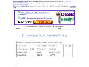 Environment Group Creative Writing Worksheet