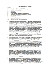 Environmental Issues Worksheet