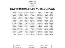 Environmental Study Word Search Puzzle Worksheet