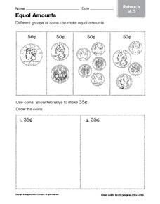 Equal Amounts: Reteach Worksheet