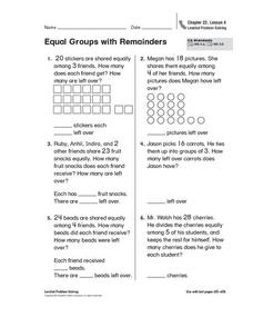 Equal Groups with Remainders Worksheet