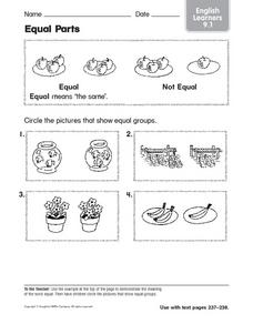 Equal Parts: English Learners Worksheet