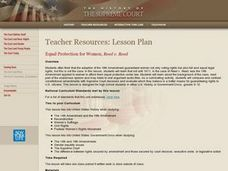 Equal Protection for Women, Reed v. Reed Lesson Plan