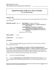 Equal Protection of the Law: Fact or Fiction Lesson Plan