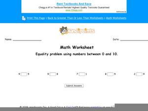 Equality Math Problems Worksheet