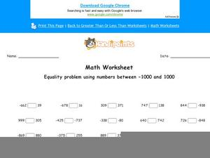 Equality of Whole Numbers Worksheet