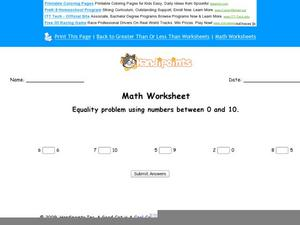 Equality Problem Using Numbers Between 0 and 10: Part 4 Worksheet
