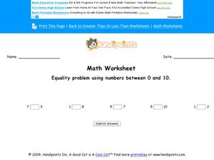 Equality Problem Using Numbers Between 0 and 10 Worksheet