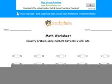 Equality Problem Using Numbers between 0 and 100: Part 4 Worksheet