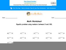 Equality Problem Using Numbers Between 0 and 100: part 6 Worksheet