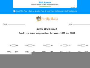 Equality Problem Using Numbers Between -1000 and 1000 Worksheet
