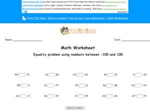 Equality Problems Lesson Plan