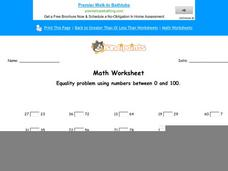 Equality Problems Using Numbers Between 0 and 100: Part 5 Worksheet