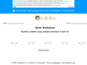 Equality Problems Using Numbers Between 1 and 10 Worksheet