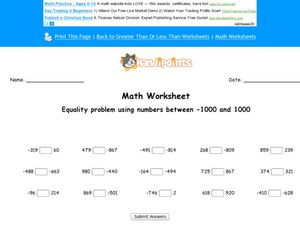 Equality Problems Using Numbers Between -1000 and 1000 Worksheet