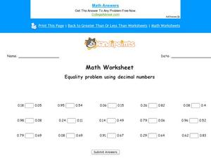 Equality Problems Worksheet