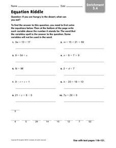 Equation Riddle Worksheet