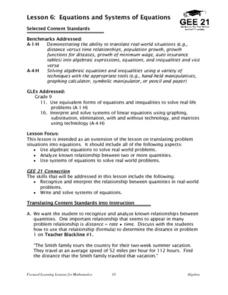 Equations and Systems of Equations Lesson Plan