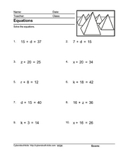 Equations: Solving Using Subtraction Worksheet