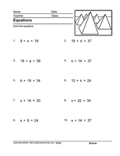 Equations: Using Subtraction to Solve Worksheet