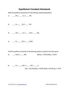 Printables Equilibrium Constant Worksheet equilibrium constant 11th higher ed worksheet lesson planet worksheet