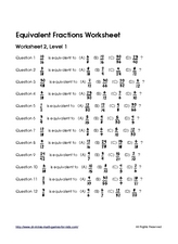Equivalent Fractions #2 Worksheet