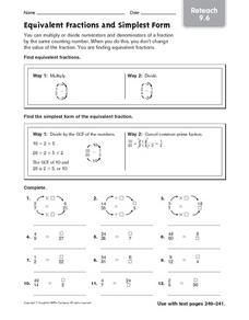 math worksheet : equivalent fractions and simplest form reteach 9 6 4th  6th grade  : Writing Fractions In Simplest Form Worksheet