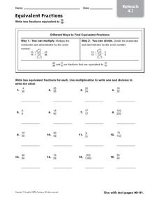 Equivalent Fractions: Reteach Worksheet